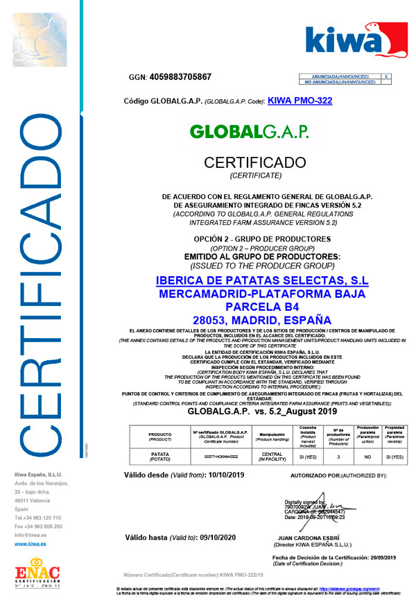 Certificado Global Gap - Ibérica de Patatas