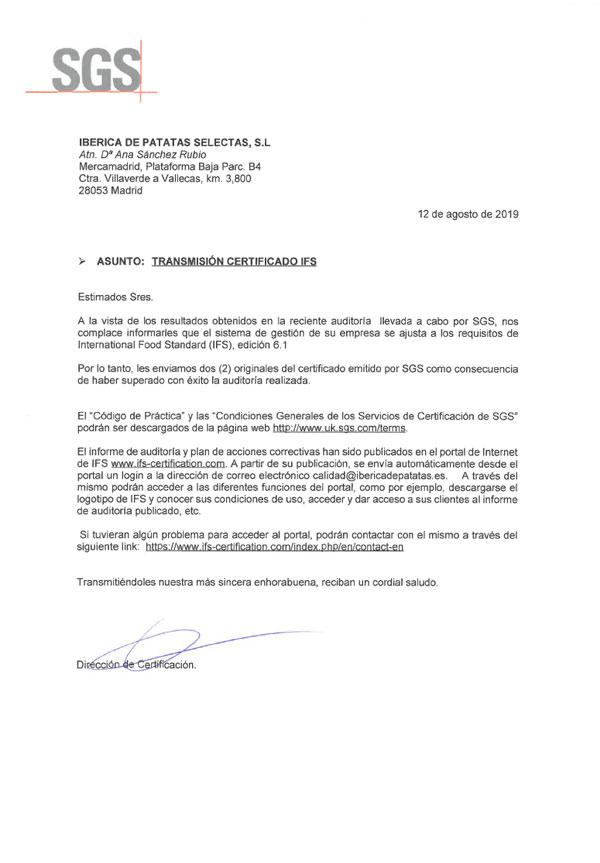 Certificado SGS - Ibérica de Patatas