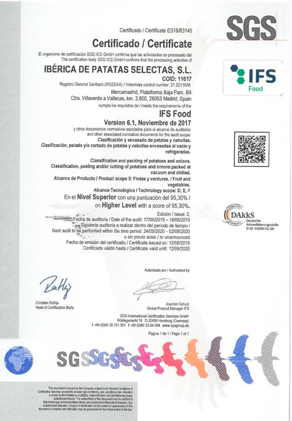 Certificado IFS - Ibérica de Patatas