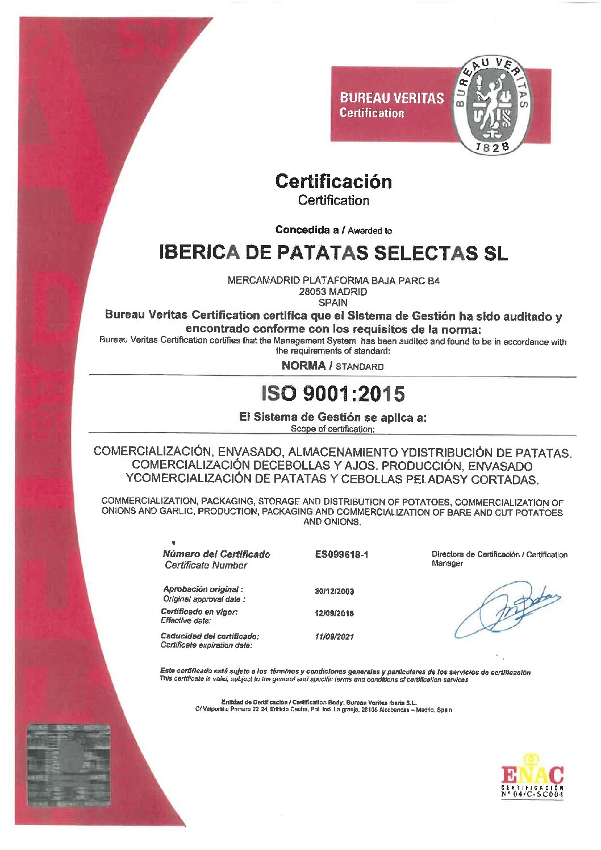 Certificado Bureau Veritas - Ibérica de Patatas