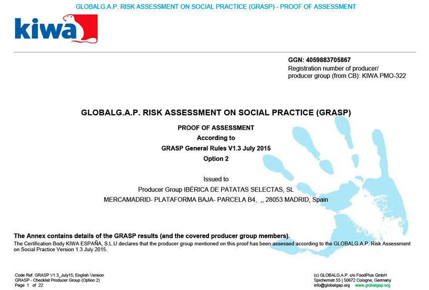Certificado Global Gap Grasp - Ibérica de Patatas