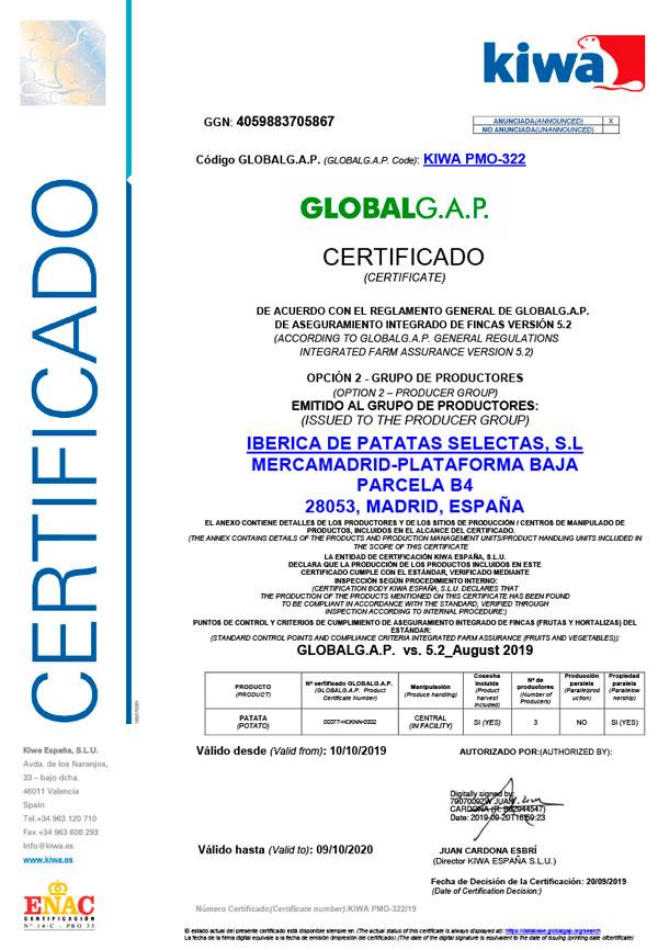 Certificado Global Gap - Ibérica de Patatas